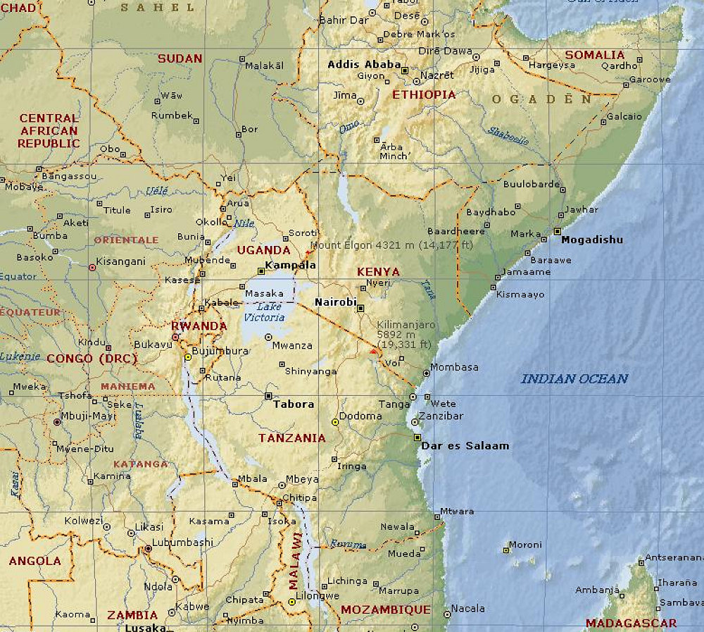Overview Map Kilimanjaro And East Africa Maps And Graphs